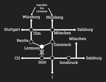 Anfahrtsplan Gipfelhaus Grubighütte Lermoos